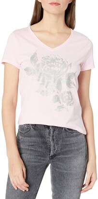 Hanes Womens Short Sleeve Graphic V-Neck Tee (Multiple Graphics Available) Paleo Pink
