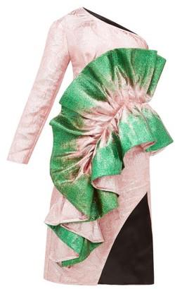 Germanier - Recycled Asymmetric Glitter-paint Brocade Dress - Womens - Green Multi