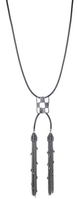 Alexis Bittar Pave Checkerboard Tassel Pendant Necklace