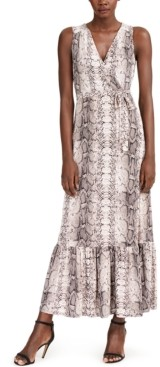 INC International Concepts Inc Snake-Embossed Faux-Wrap Maxi Dress, Created for Macy's