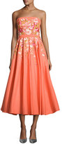 Marchesa Strapless Embroidered Faille Tea-Length Gown, Coral