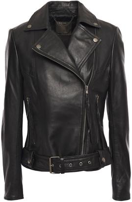 Muu Baa Muubaa Belted Textured-leather Biker Jacket