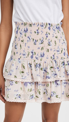 ENGLISH FACTORY Floral Smocked Ruffled Skirt