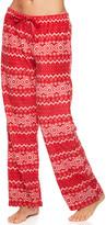 Kathy Ireland Women's Sleep Bottoms HRED - Red Fair Isle Fleece Pajama Pants - Women