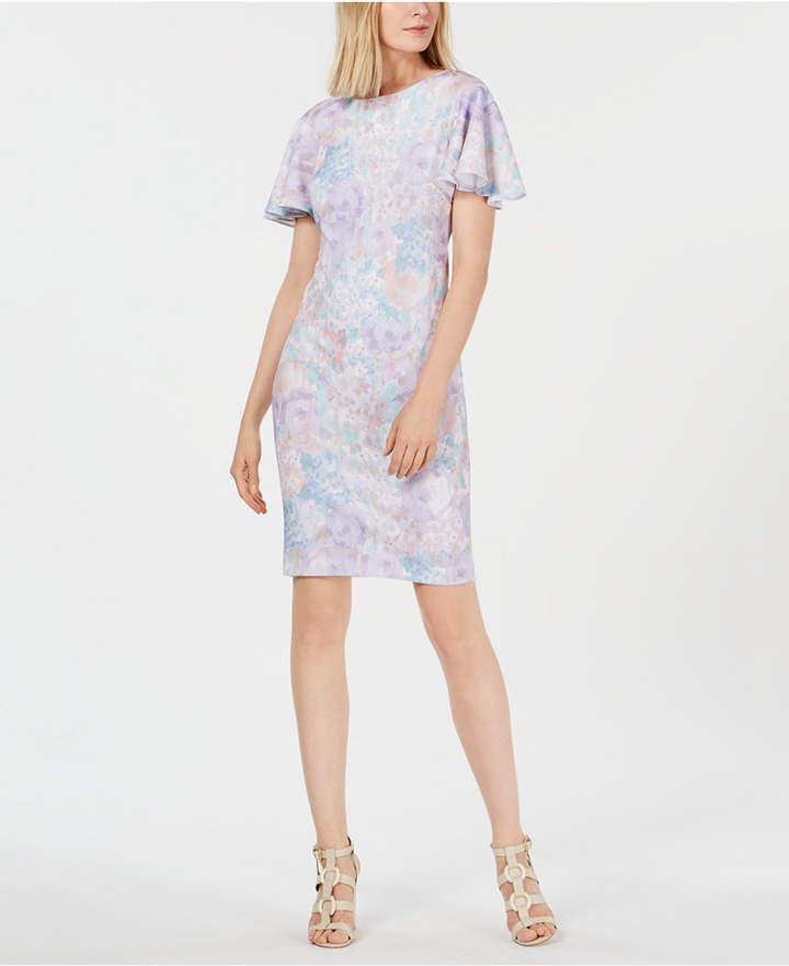 Calvin Klein Pastel Floral Flutter-Sleeve Dress