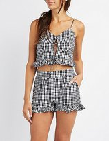 Charlotte Russe Lace-Up Gingham Crop Top