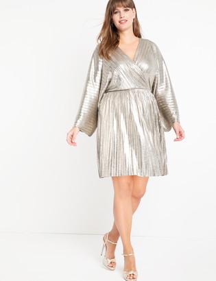 ELOQUII Pleated Metallic Wrap Dress