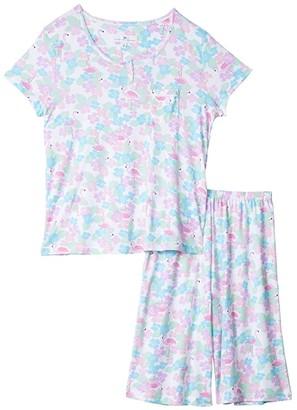 Karen Neuburger Tropical Capsule Short Sleeve Pullover Bermuda Pajama (Caribbean Queen White) Women's Pajama Sets
