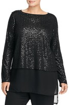 Eileen Fisher Plus Boat Neck Sequin Silk Top - 100% Bloomingdale's Exclusive