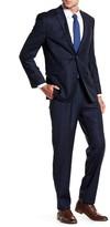 Vince Camuto Navy Windowpane Two Button Notch Lapel Wool Trim Fit Suit