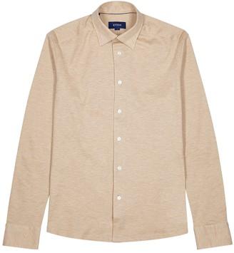 Eton Light brown pique cotton shirt
