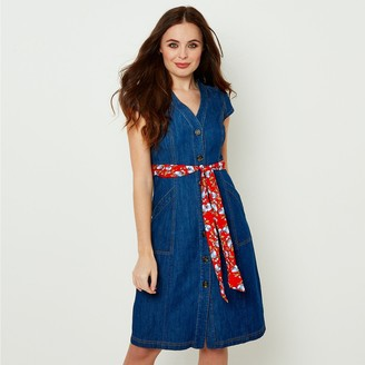 Joe Browns Denim Button-Through Midi Dress with Tie-Waist