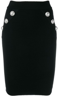 Balmain ribbed knit fitted skirt