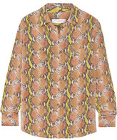 Equipment Signature Snake-Print Washed-Silk Top