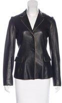 Jil Sander Leather Notch-Lapel Blazer