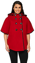 As Is Centigrade Button Front Cape with Faux Leather Trim