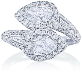 JB Star Platinum Diamond Pear Bypass Ring