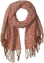 D&Y Women's Multi Colored Boucle Oblong Scarf with Fringe Trim