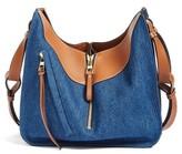 Loewe Small Tri-Tone Denim & Leather Hobo - Blue
