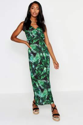 boohoo Strappy Frill Detail Palm Print Maxi Dress