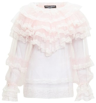 Dolce & Gabbana Ruffled Chantilly-lace And Tulle Blouse - Womens - Pink Multi