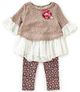 Rare Editions Little Girls 2T-6X Sweater-Knit/Lace Tunic & Floral-Printed Leggings Set