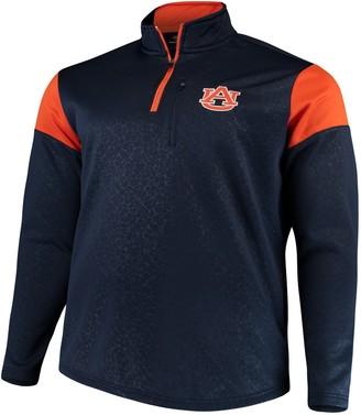 Colosseum Men's Navy Auburn Tigers Big & Tall Luge Fleece Quarter-Zip Pullover Jacket