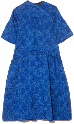 Simone Rocha Long Gathered Dress in Blue