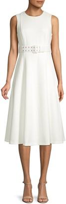 Calvin Klein Belted Sleeveless A-Line Dress