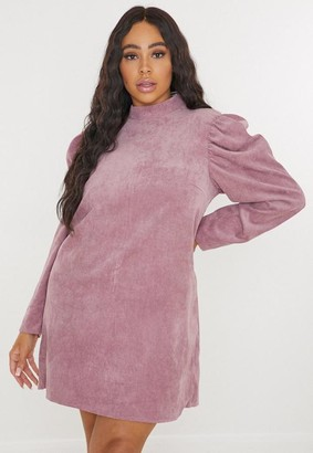 Missguided Plus Size Blush Cord High Neck Shift Dress