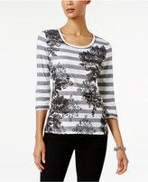 Karen Scott Striped Floral-Print Top, Only at Macy's