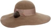 Eugenia Kim Honey Beige Wide-Brimmed Wool-Felt and Fur Pom Pom Hat