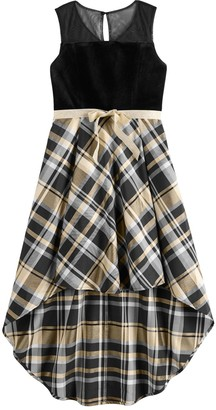My Michelle Girls 7-16 Plaid High Low Dress