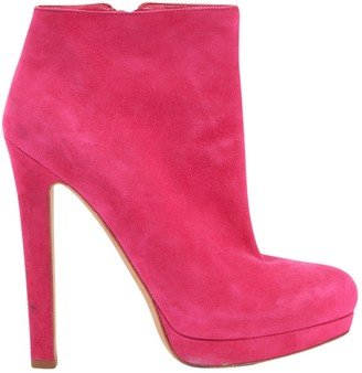 Alexander McQueen Pink Suede Ankle boots