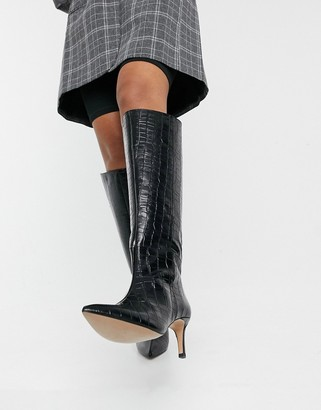 And other stories & leather slouch knee high boots in black