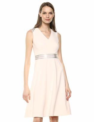 Calvin Klein Women's Sleeveless A Line Dress with Ribbon Waist Band