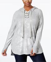 Melissa McCarthy Trendy Plus Size Metallic Hoodie