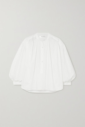 Anine Bing Eden Gathered Cotton-poplin Blouse - White