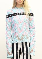 Marques Almeida Long Sleeve Double Lace Top Turquoise Pink