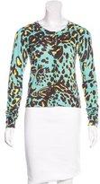 Diane von Furstenberg Leopard Print Round Neck Cardigan