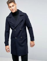 Pull&Bear Wool Coat In Navy