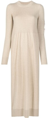 Barrie Ripped Sleeve Cashmere Dress