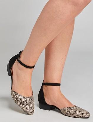 Lane Bryant Two-Piece Ankle-Strap Flat - Faux Calf-Hair Print