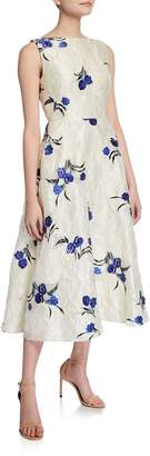 Lela Rose Floral Jacquard Boat-Neck Full Skirt Dress
