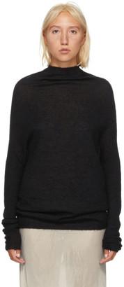 Rick Owens Black Alpaca Knit Crater Sweater