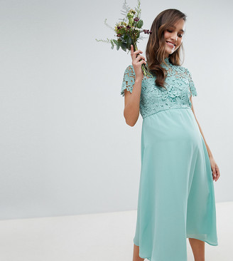 Chi Chi London Maternity 2 in 1 High Neck Midi Dress with Crochet Lace