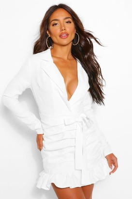 boohoo Rouched Tie Waist Plunge Blazer Dress