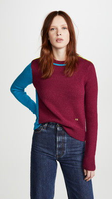 Victoria Beckham Colorblock Cropped Crew Neck Sweater