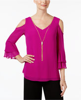 MSK Ruffled Necklace Cold-Shoulder Top