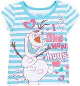 Children's Apparel Network Frozen Olaf 'Warm Hugs' Stripe Cap-Sleeve Tee - Toddler & Girls